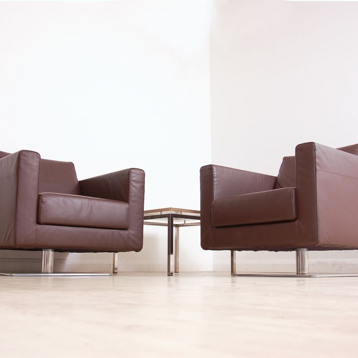 Vitra Park Swivel Armchair In Chocolate Leather Leather